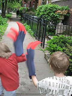 Quin and sam with claw running