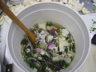 Kimchi in bucket