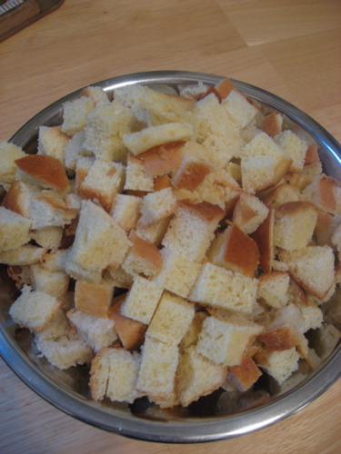 Bowl of bread cut up
