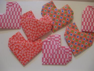 Origami hearts close up