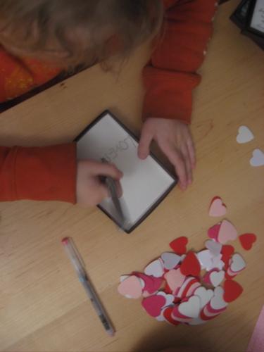 Sam writing valentines
