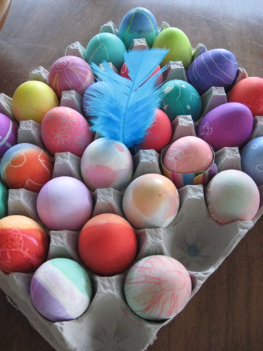 Hard boiled dyed eggs