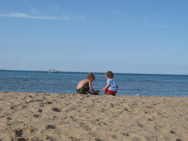 Sam and ben build a sand castle
