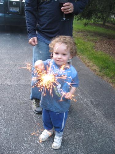 Ben's first sparkler
