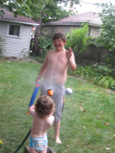 Ben spraying Jarek