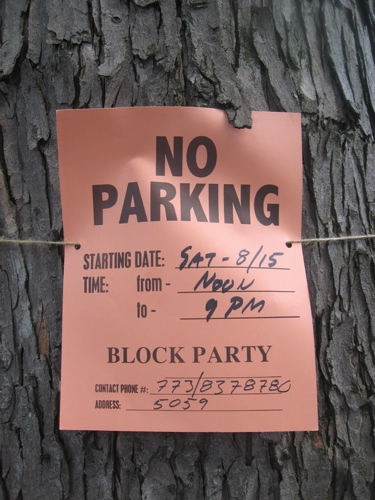 Block party no parking