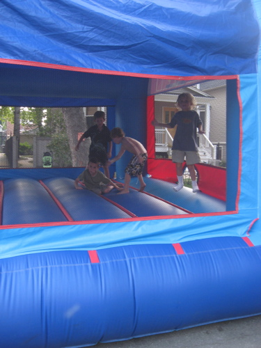 Block party blue bouncy house