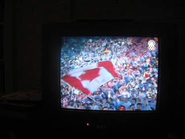 Maple flag on tv