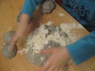 Ben with flour and dough
