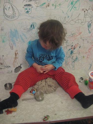 Ben playdough and idea board