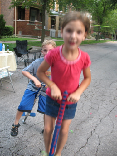 Stella on pogo stick