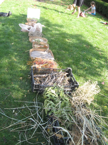 Natural materials in baskets