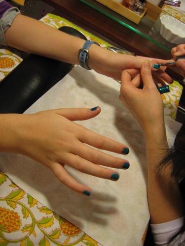 Claire's blue nails