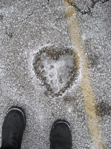 Parking lot snow heart