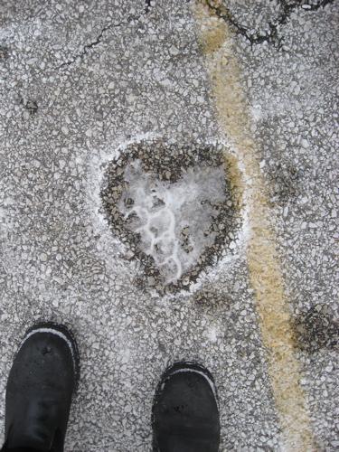 Parking lot snow heart