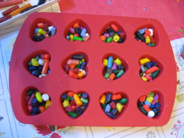 Crayons in hearts