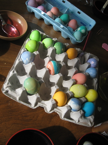 Easter eggs in sunlight