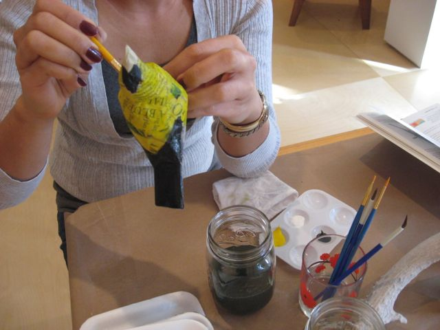 Sarah's birds getting painted