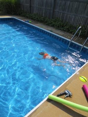 Ben swimming at john & mary's