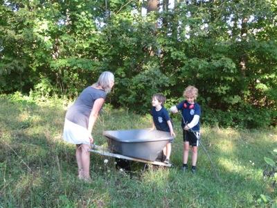 Gathering sticks with Linda